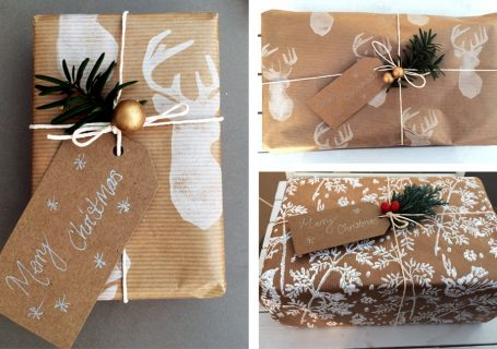 Homemade giftwrap for christmas