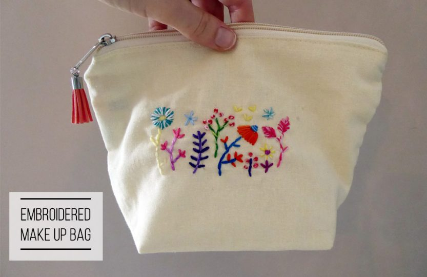 Embroidered make up bag