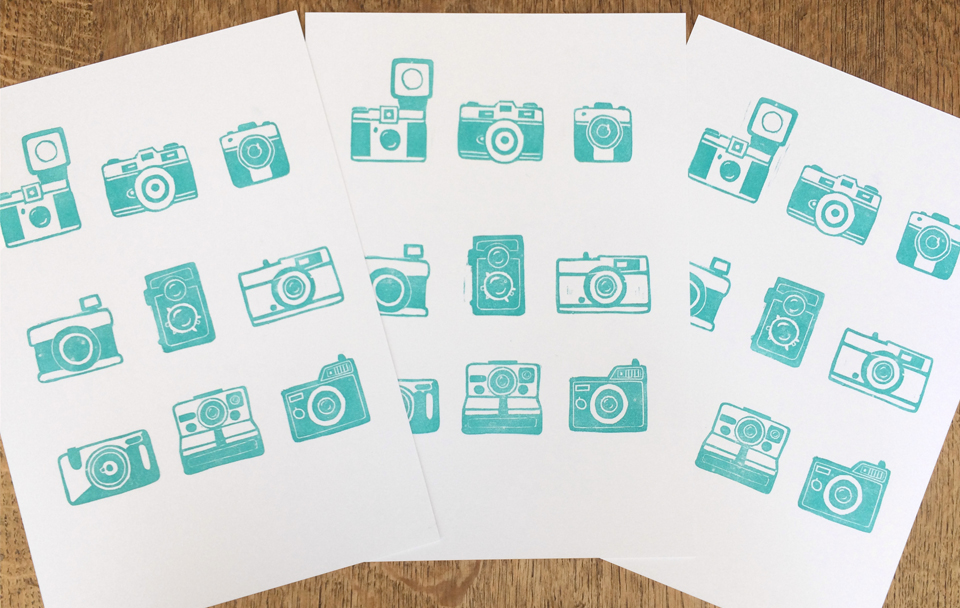 Vintage camera lino prints available from my etsy shop etsy.com/giftsmadebym